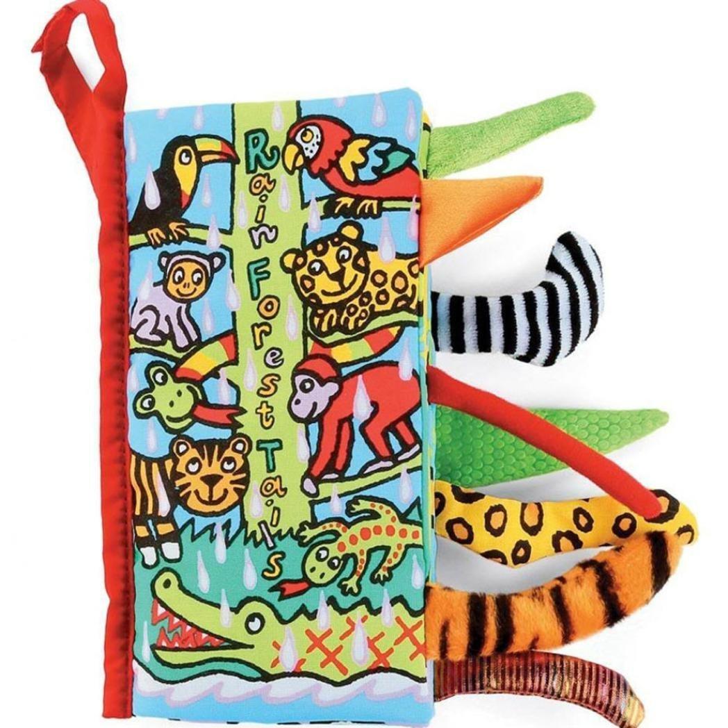 bebé libro de tela, Kfnire colas de animales juguete de educación temprana y desarrollo del bebé tela suave juguetes no tóxicos lavables del bebé (A)