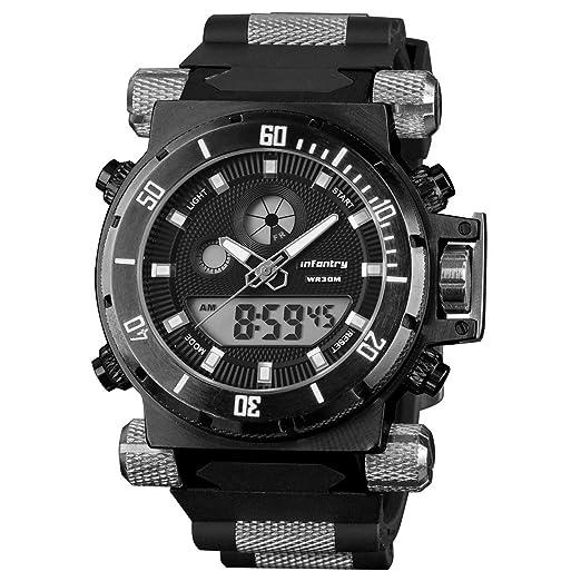 Infantry - Reloj de pulsera para hombre, 50 mm, esfera grande, táctico, militar, digital, deportivo, con correa de silicona negra: Amazon.es: Relojes