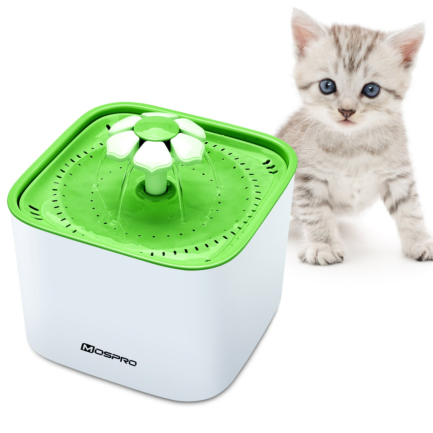 Pet Fountain Cat Water Dispenser - BPA-free Flower Drinking Fountain 2L Ultra Quiet Automatic Electric Water Bowl with 2 Filters for Cats Dogs Birds and Small Animals Health Caring and Hygienic, Green