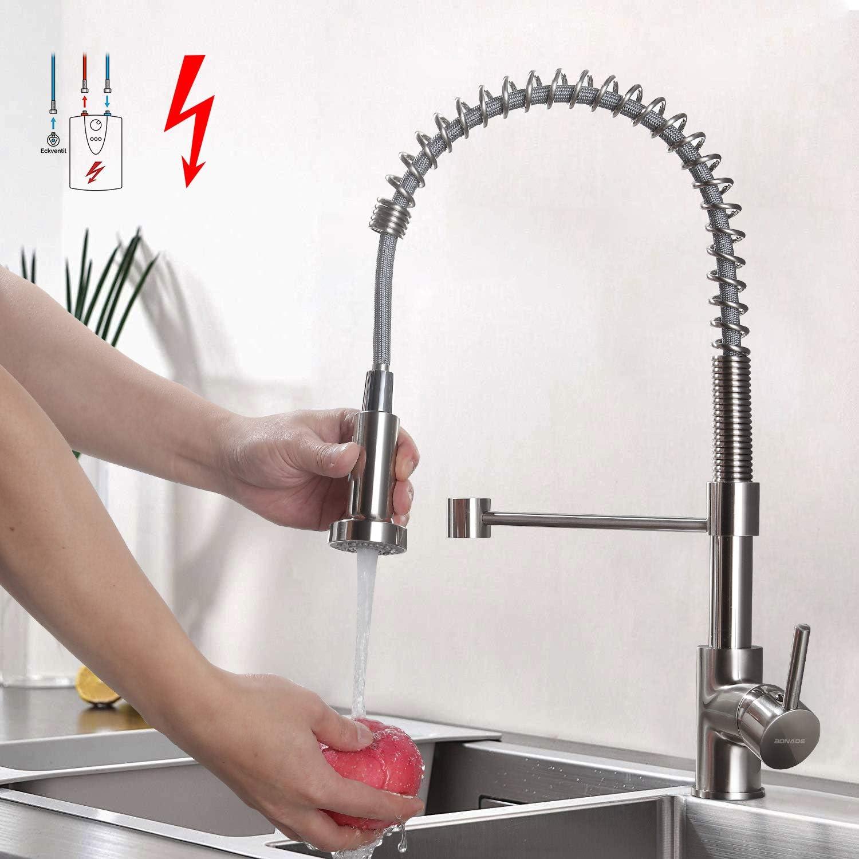 BONADE Niederdruck Küchenarmatur Edelstahl Gebürster Wasserhahn