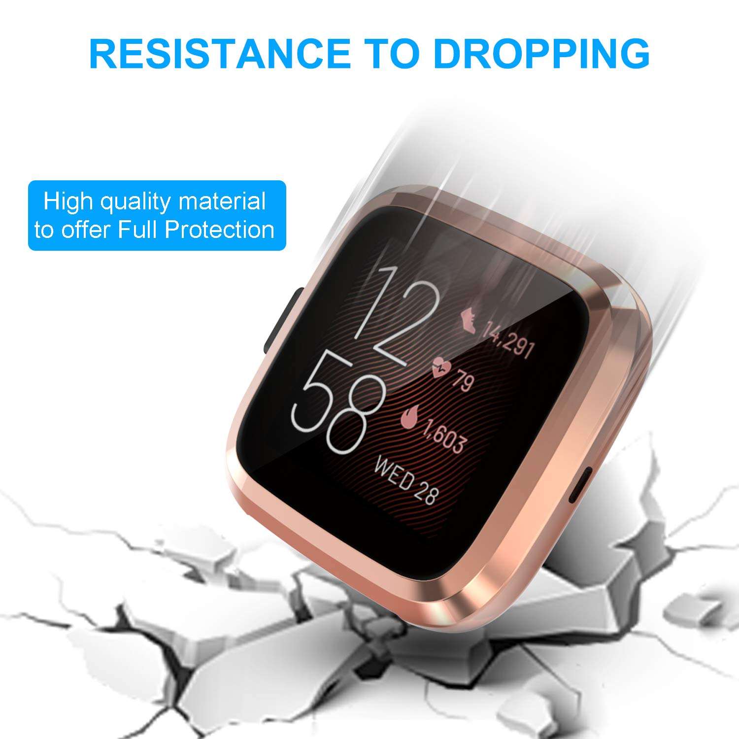 Clear/&Black 2 Pack FASTSNAIL Screen Protector Case for Fitbit Versa 2, Protective Case Anti-Scratch Cover Shell for Fitbit Versa 2 Smartwatch