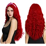 Women Long Curly Wavy Red Wigs Cosplay Costume Halloween Middle Parting Synthetic Wig with Wig Cap