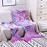 Toddler Mermaid Tail Blankets Glittering Cozy Soft Flannel Rainbow Colorful Gifts All Season for Toddlers /Kids(Purple Pink,
