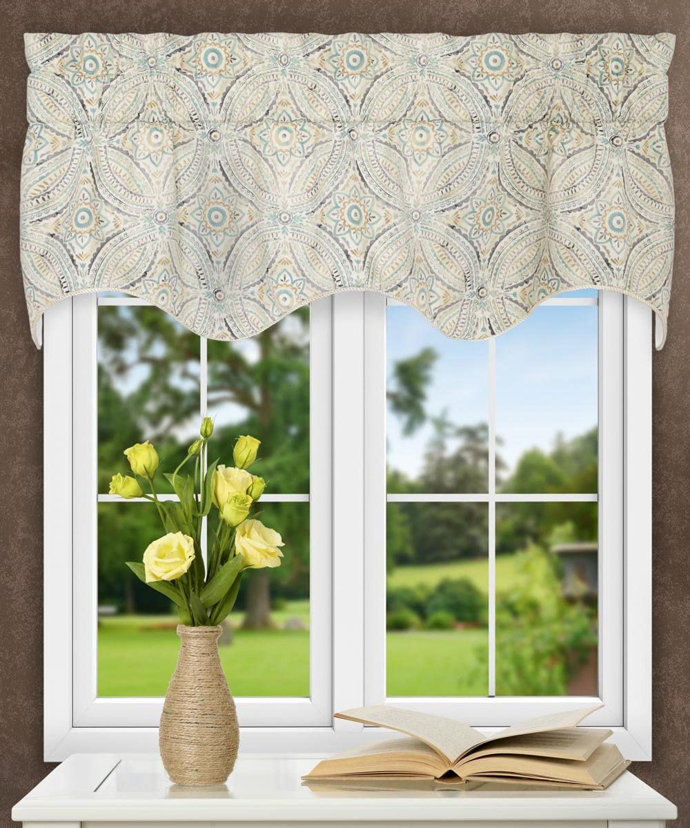 Ellis Curtain Blissfulness 50 x 15 Lined Scallop Valance, Spa