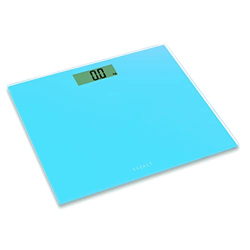 Exzact EX9360 ColorSlim – Digital Bathroom Scale/Electronic Weighing Scale - Ultra Slim 1.7 CM Thickness -150 kg / 330 lb - Color Glass Platform (Blue)