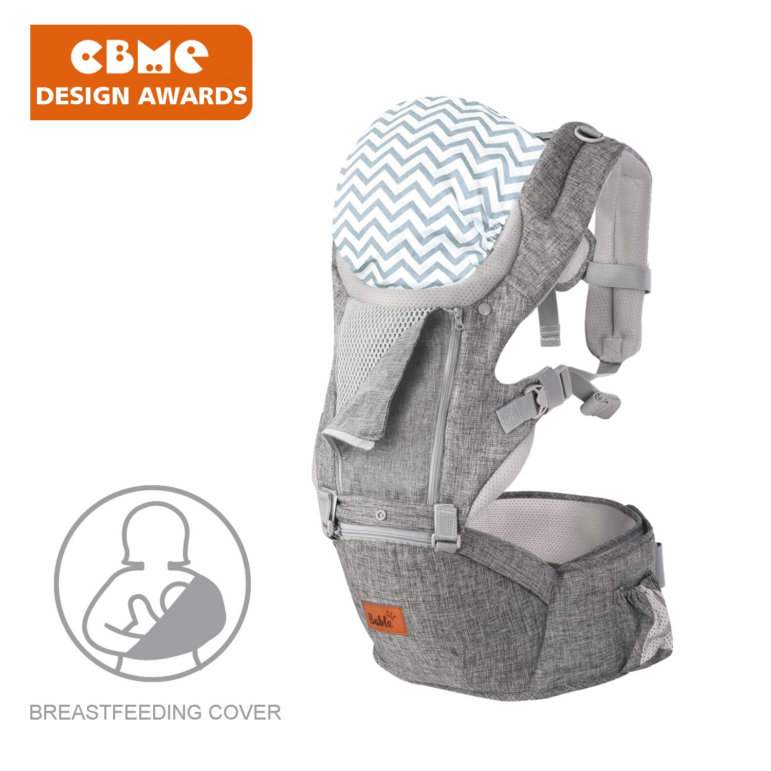 Bable Baby Carrier Hip Seat, 360 Ergonomic Baby Carrier with Breastfeeding Nursing Cover, 6-in-1 Convertible Carrier for All Seasons, Toddler Tush Stool, Baby Wrap Carrier Front and Back (Flaxen)