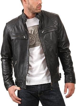 NBENTERPRISES Genuine Mens Brown Motorcycle Leather Jacket