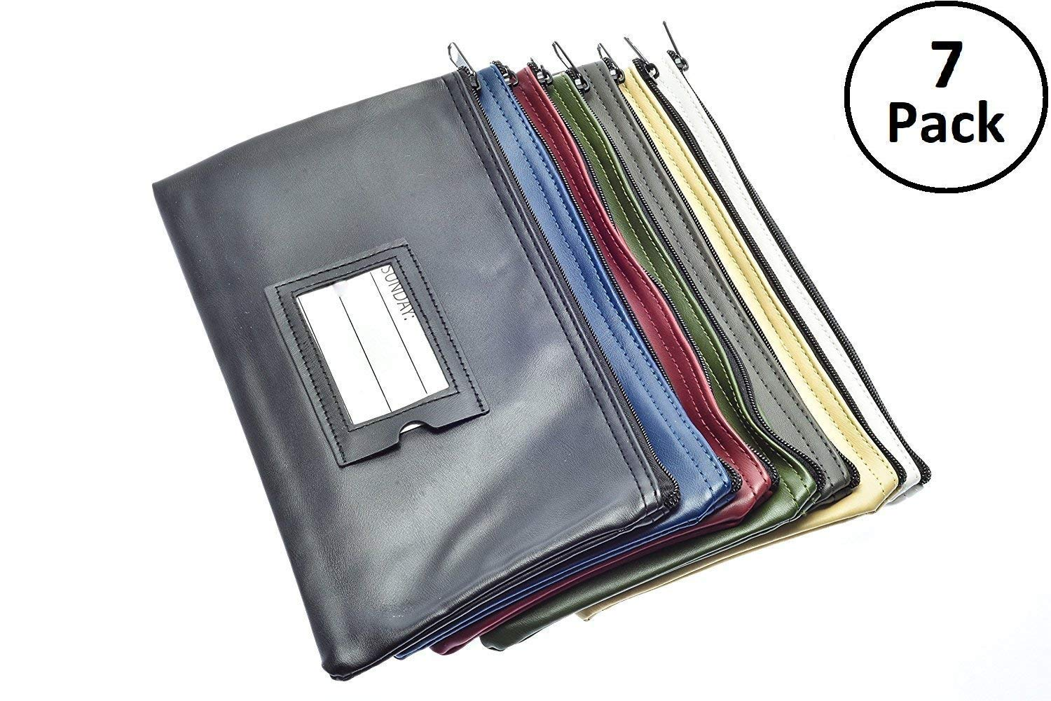 7 Days Bank Deposit Cash and Coin Pouches with Zipper Closure, Each Money Bag with Blank Card and Card for Each Day of The Week, Multi-Color
