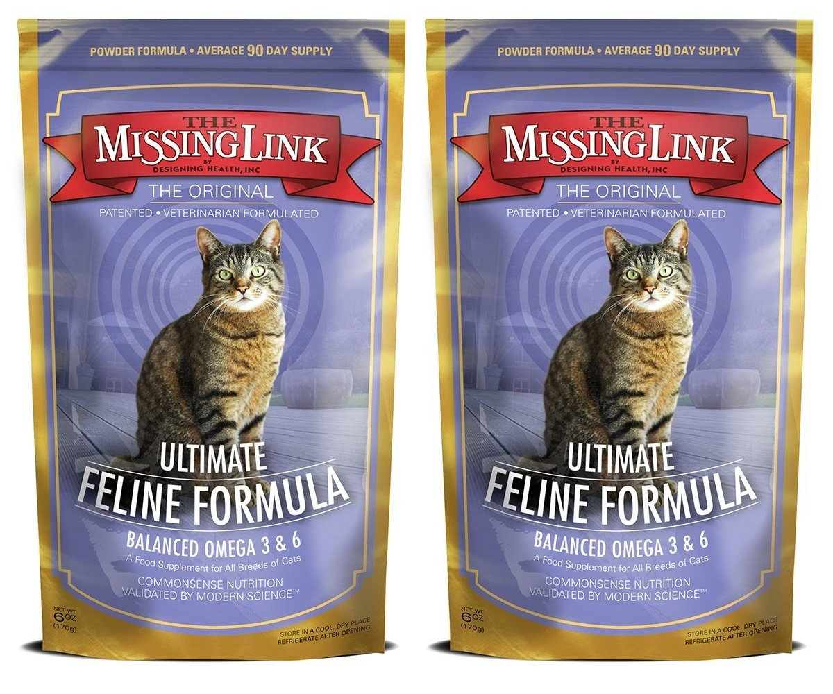 The Missing Link Original All Natural Superfood Cat Supplement Healthy Skin Coat, Immunity and Overall Health Feline Formula, 6 Ounces, 2 Pack by The Missing Link