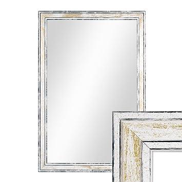 PHOTOLINI Wand-Spiegel 44,5x64,5 cm im Holzrahmen Pastell Vintage  Look/Alt-Weiß Gold/Spiegelfläche 40x60 cm