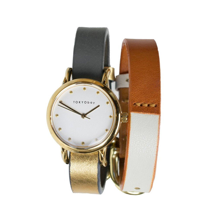 TokyoBay t612gd-gy-WH Herren Edelstahl Gey Leder Band Weiß Zifferblatt Smart Watch