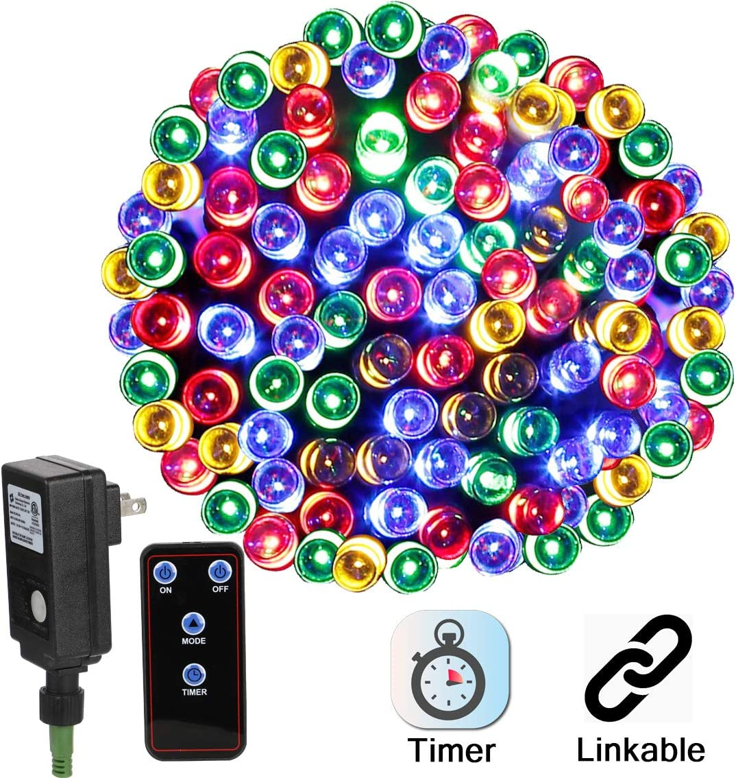 Linkable LED Christmas Lights 72ft 200Leds Multi-Color, Plug-in DC24V Safe Adapter Decorative Lights with Timer Remote, 8-Modes Fairy Lights for Halloween Wedding Party Xmas Decor