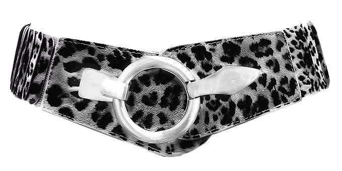 695d43efc670bf Damen Gürtel Leder Taillen Hüftgürtel One Size Stretch Grau Leopard SA-73