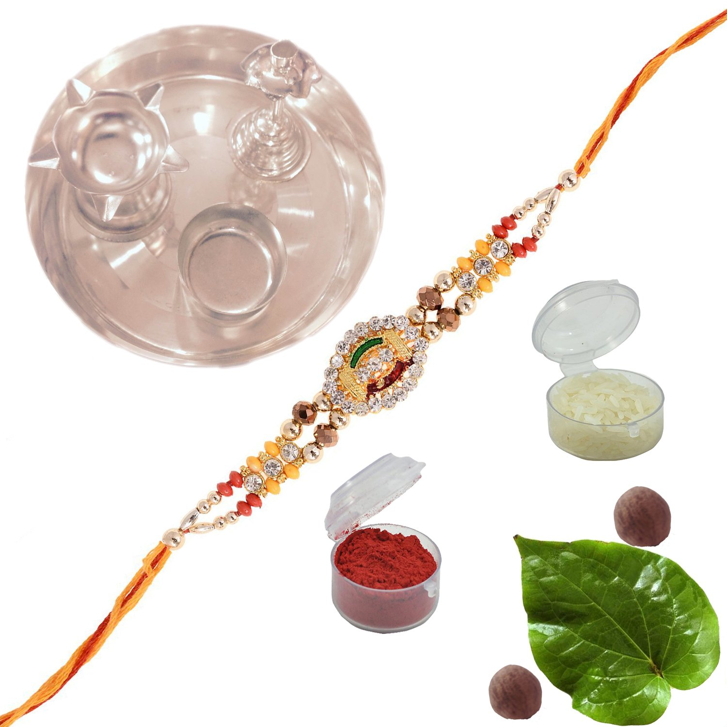 Amba Handicraft Multi-Coloured Silk Exclusive designer traditional ethnic attractive rich royal indian colorful beautiful sister brother lovely Rakhi Set india
