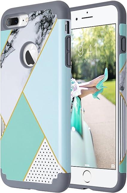 ULAK iPhone 7 Plus Cover, iPhone 7 Plus Custodia Ibrida a Protezione Integrale con Parte Esterna in 2 Strati di Morbido Silicone e Interno Rigido Case ...