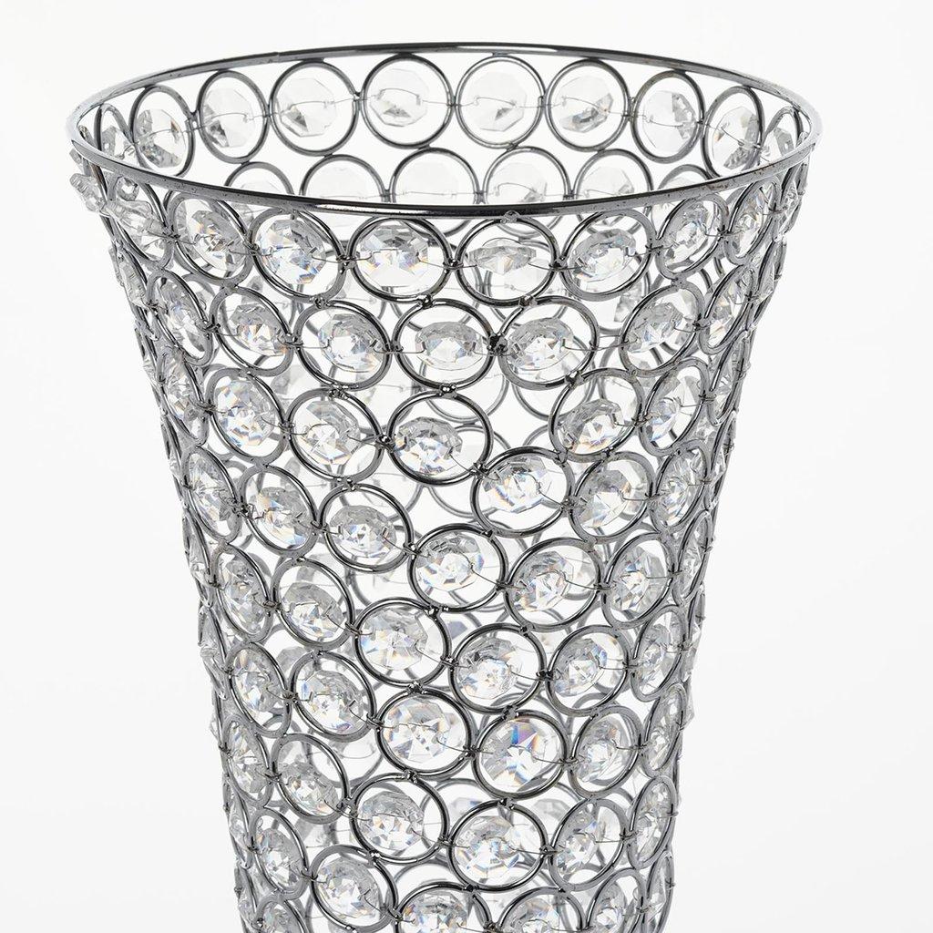 Amazon.com: Efavormart Set of 2 Tall Silver Beaded Crystals Trumpet ...