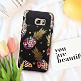 Fingic Galaxy Note 5 Case,Galaxy Note 5 Phone Case, Pineapple&Shinny Star Design Black Case 2 in 1 Hybrid Case Hard PC&Soft Rubber Protective Case for Girls Cover for Samsung Galaxy Note 5,Black