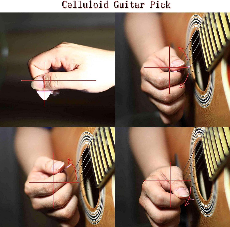 Plettri chitarra,Plettri in celluloide 12 pcs,Per Basso Chitarre Elettriche e Acustiche 4 diversi spessori 0,46//0,71//0,96//1,20mm