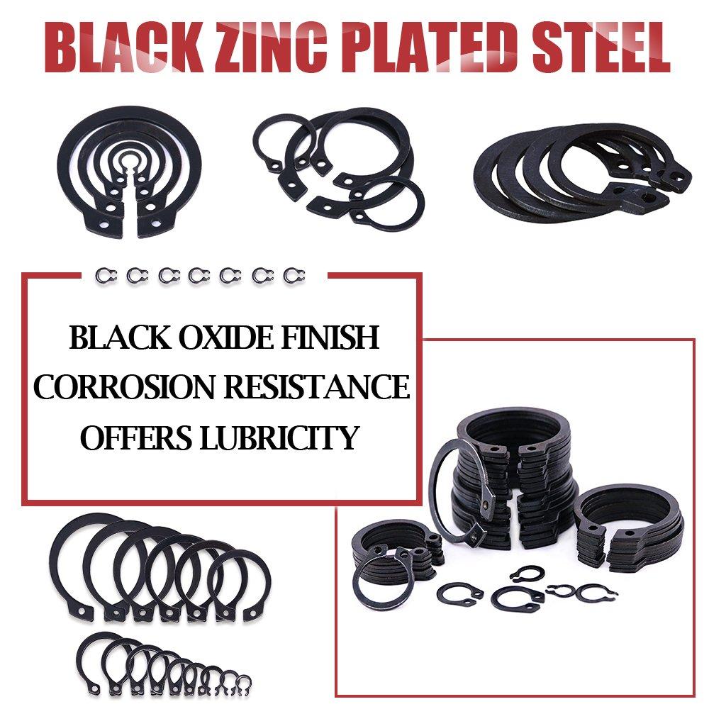 Alloy Steel External Circlip Snap Retaining Clip Ring Assortment Set Hilitchi 300-Pcs 15-Size