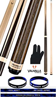 product image for Valhalla VA341 by Viking 2 Piece Pool Cue Stick Hustler Sneaky Pete 4 Point Construction Veneers and Maple Rings, High Impact Ferrule 18-21 oz. Plus Billiard Glove & Bracelet