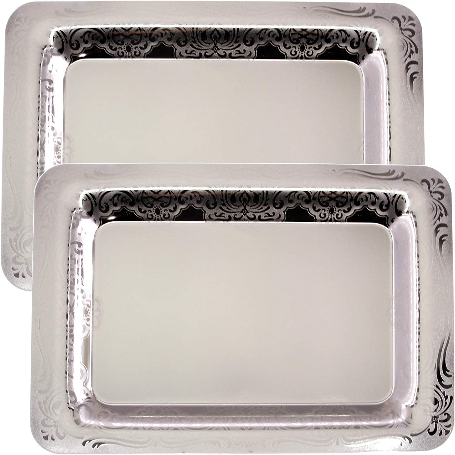 Maro Megastore (Pack of 2) 18.6 inch x 13 inch Oblong Chrome Plated Mirror Silver Serving Tray Stylish Design Floral Engraved Edge Decorative Party Birthday Wedding Buffet Wine Platter Plate TLA-347