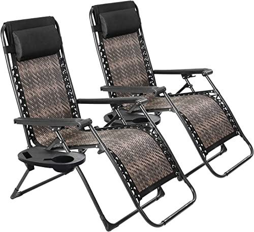 SOLAURA Adjustable Portable Rattan Lounge Outdoor Chair Zero Gravity Folding Wicker Recliner for Garden Patio Beach Porch Swimming Pool, Outdoor and Indoor Use, 2 Pack