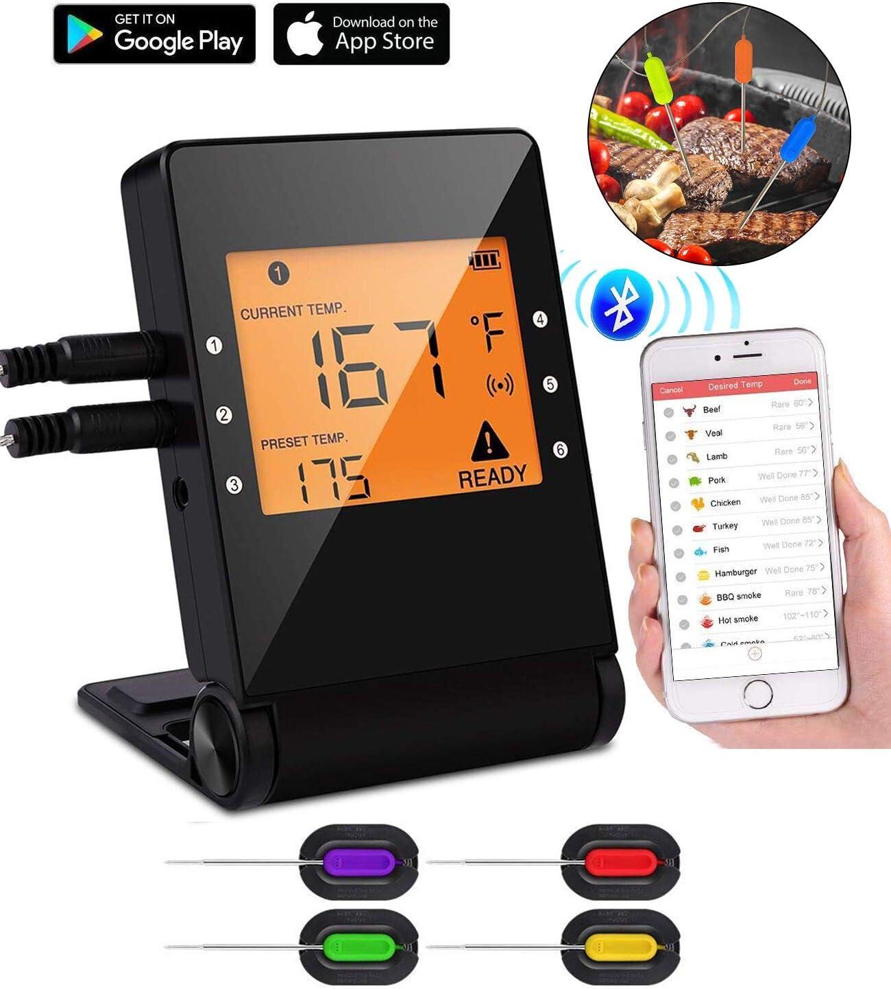 Tooklanet Termómetro de cocinar con Sondas Inteligente Bluetooth,Termómetros para Carne BBQ con LCD Pantalla, APP Remote con Alarma, perfecto para Carne,Agua, Ahorro de Espacio,Varias Sondas. 4 pack