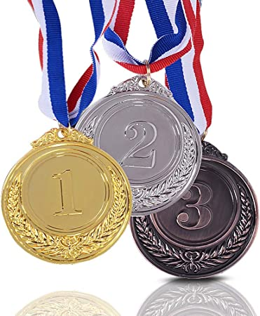OnePine Medallas de los premios de 3 Piezas Medalla de los ganadores de la Medalla de Oro y Plata Primera Medalla de Segunda recompensa para campeones con Cinta (3 Piezas): Amazon.es: Hogar