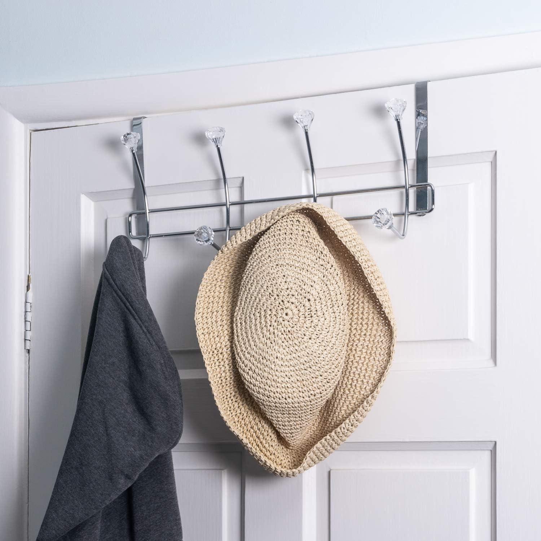 ideal para dormitorio. Percha de cristal para colgar sobre puerta 4 ganchos
