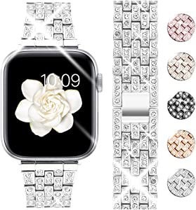 Goton Bling Band Compatible for Apple Watch Band 44mm 42mm , Women Luxury Diamond Bling Crystal Stainless Metal Replacement Strap for iWatch Band Series 6 5 4 3 2 1 (Silver - 44mm 42mm)