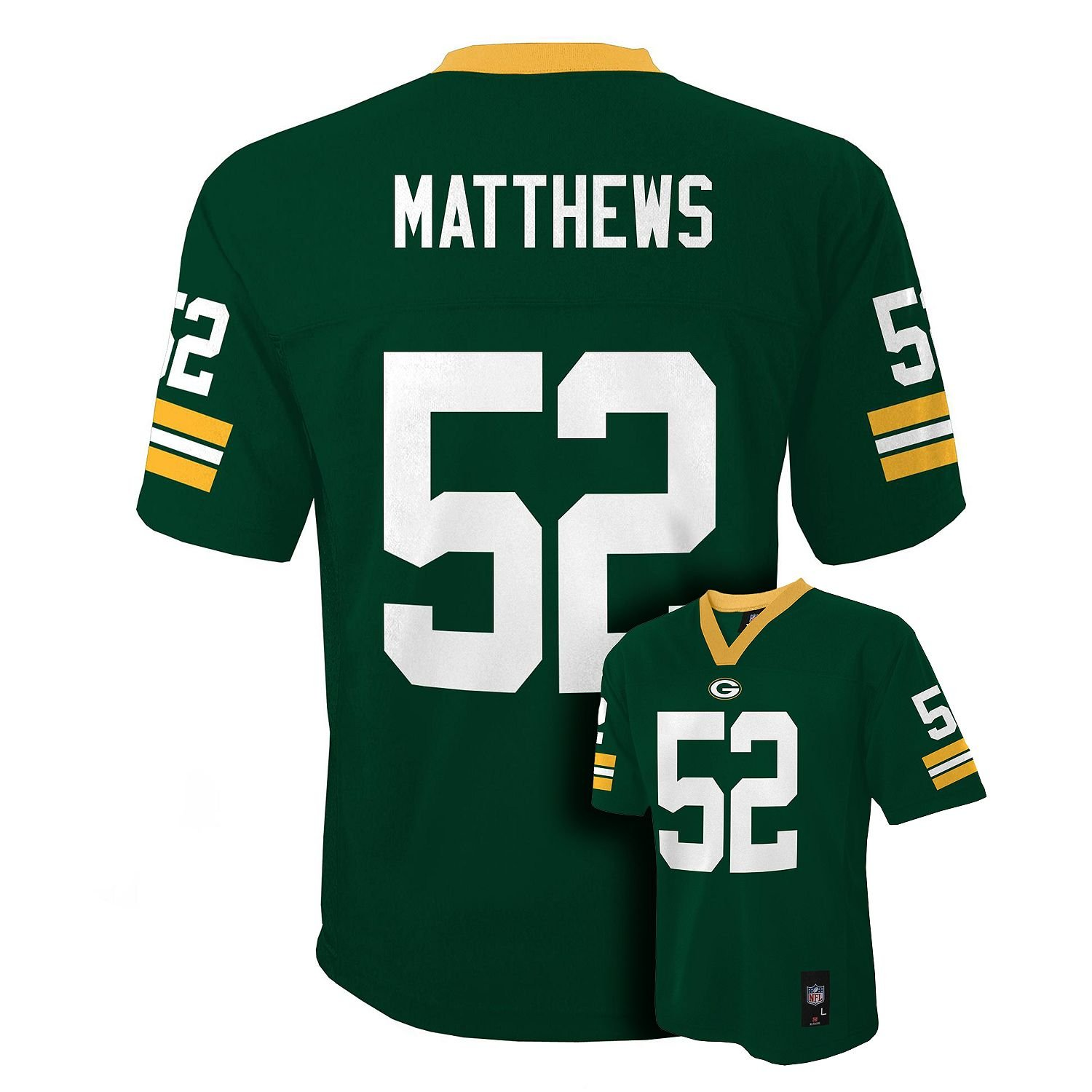 41038071d Amazon.com: Clay Matthews Green Bay Packers Green NFL Kids 2016-17 Season  Mid-tier Jersey (Kids 5/6): Clothing