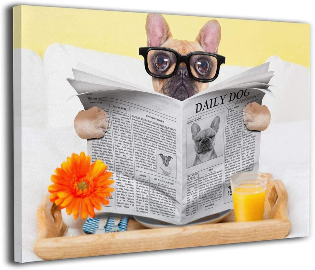 Ale-art French Bulldog Reading Newspaper Funny Glasses Modern Giclee Wall Art Decor Contemporary Pictures On Canvas Wall Art for Home Decorations Wall Decor 16