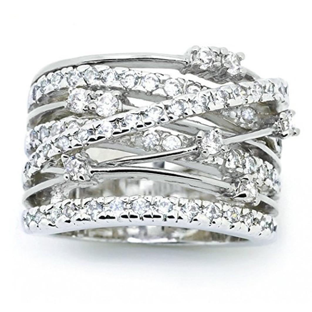 Sinwo Women Elegant Exquisite Diamond Cylindrical Rings Fine Ring Engagement Ring Gift (6, White)