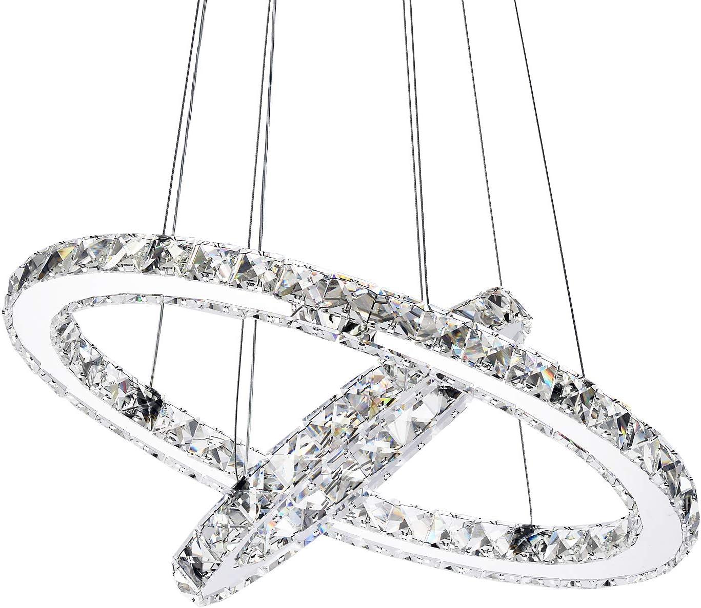 Garwarm Modern Crystal Chandeliers,Ceiling Lights Fixtures,Pendant Lighting for Living Room Bedroom Restaurant Porch Dining Room,2 Rings DIY Design D19.7 11.8