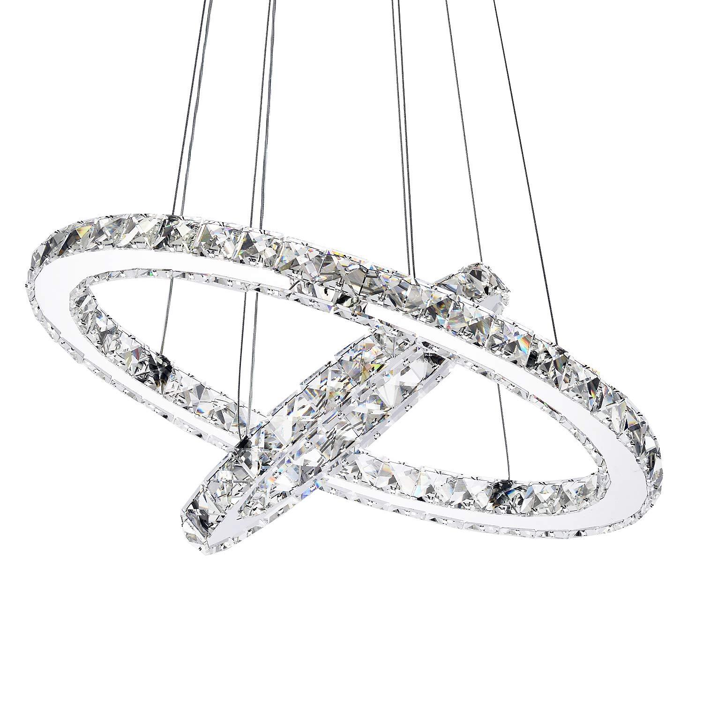 Garwarm Modern Crystal Chandeliers,Ceiling Lights Fixtures,Pendant Lighting for Living Room Bedroom Restaurant Porch Dining Room,2 Rings DIY Design(D19.7''+11.8'')