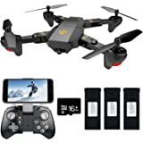 FPV RC Drone with WiFi HD Wide-angle Camera Live Video Teeggi XS809HW Training Quadcopter for Beginners with Altitude Hold One Key Start/Landing/Return Easy Operation, Bonus Battery with SD Card