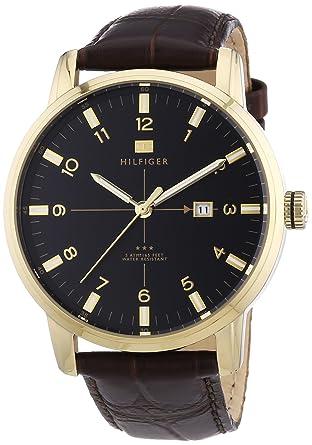 2079265a03d Tommy Hilfiger - 1710329 - Montre Homme - Quartz Analogique - Cadran -  Bracelet Cuir Marron