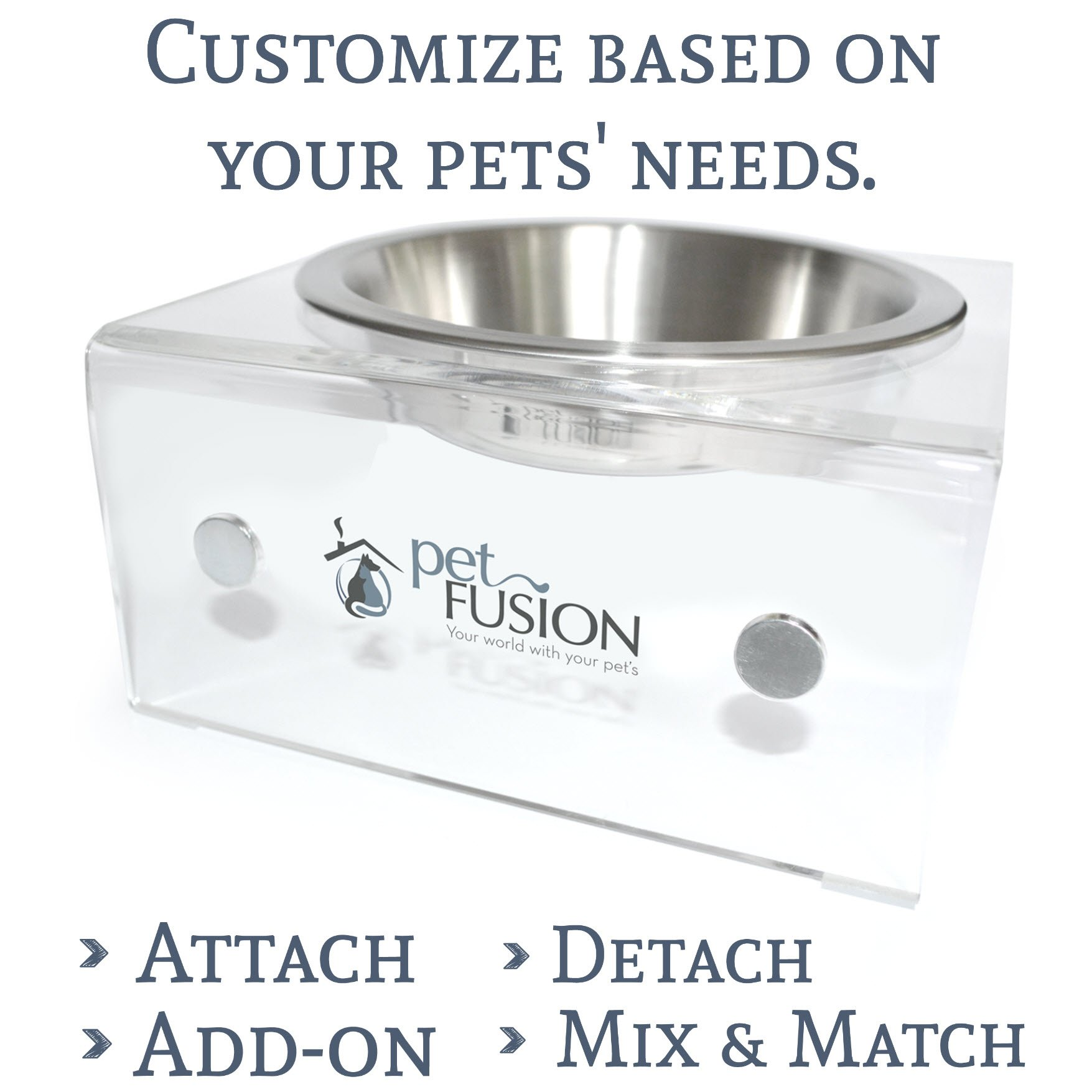 PetFusion Elevated SinglePod Magnetic Cat Feeder. (Cat Dish, Single), 8 x 8 x 4