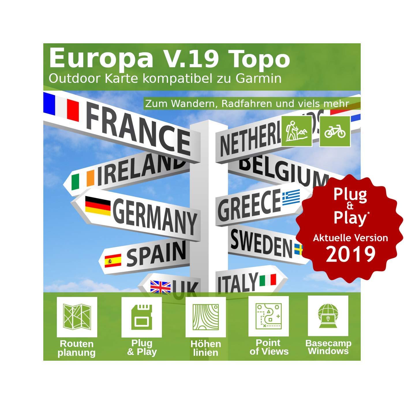 Europa V.19 - Profi Outdoor Topo Karte kompatibel zu Garmin Dakota 10, Etrex 10, Edge 520, Edge 605, Edge 705