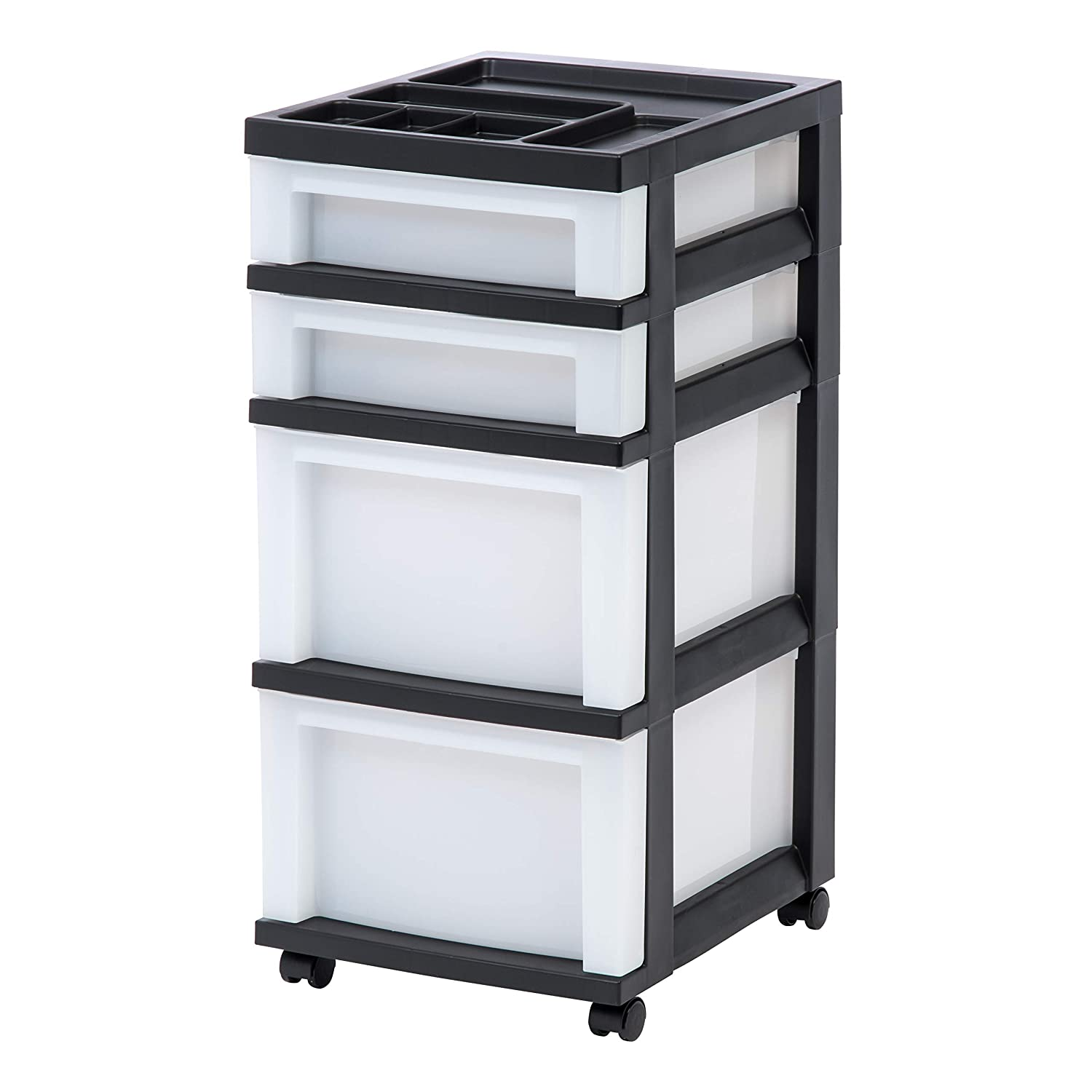 IRIS USA, Inc. MC-322-TOP 4-Drawer Storage Rolling Cart with Organizer Top, Black/Pearl