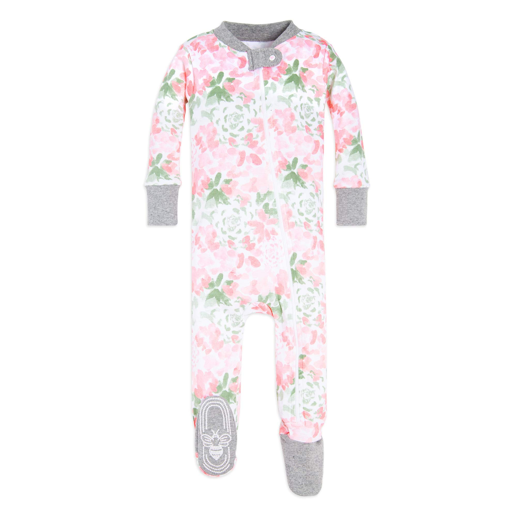 Burt's Bees Baby Baby Girls' Pajamas, Zip Front Non-Slip Footed Sleeper Pjs, 100% Organic Cotton, Tossed Succulent, 18 Months