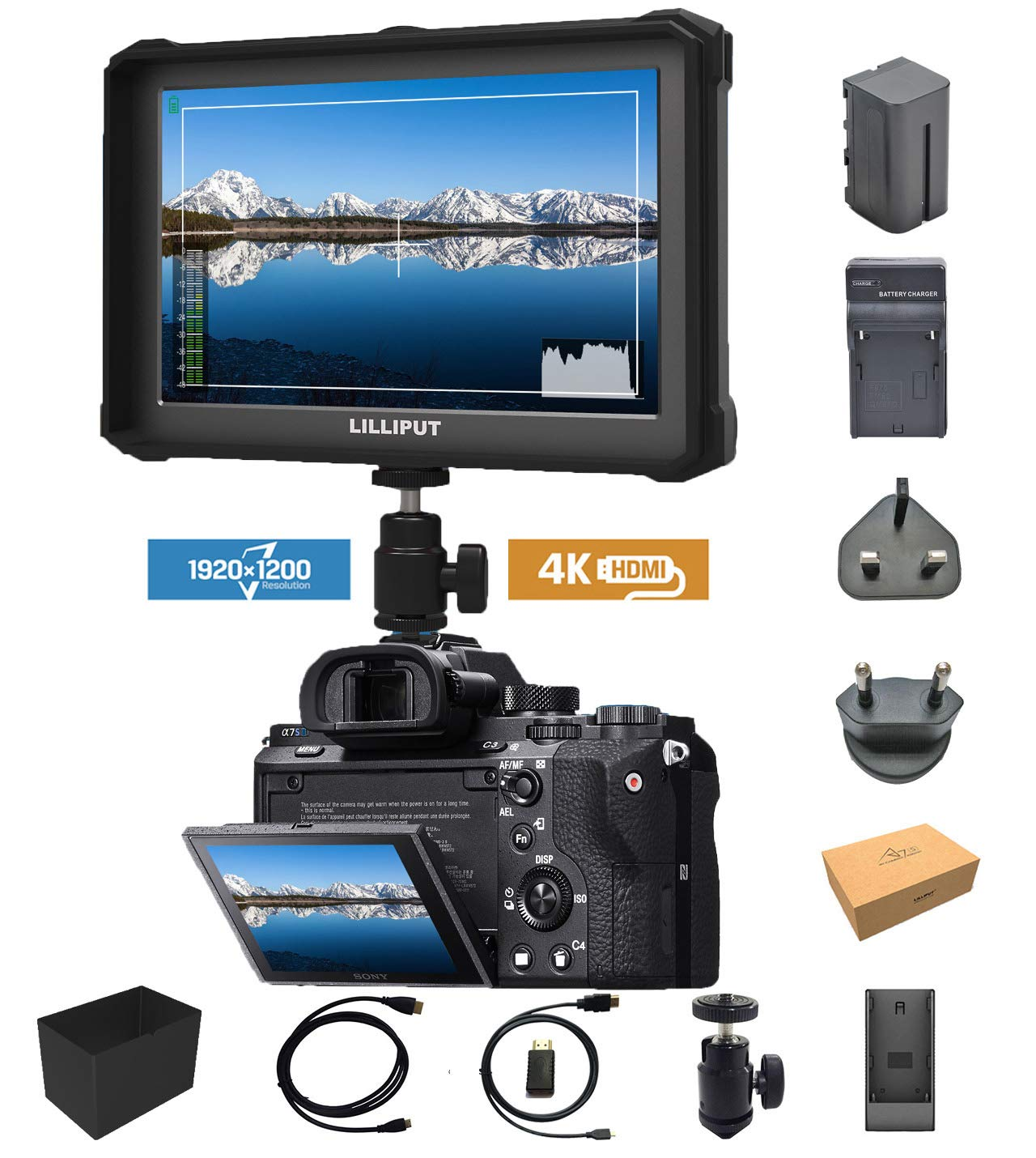 Noir Lilliput A7S 7 Pouces 1920 x 1200 IPS Screen Camera Field Monitor 4K HDMI Input Output DSLR Camera Moniteur Sony A7 A7R A7S III A6500 A9 Panasonic GH5 GH5s Canon 5d DJI Ronin 2 M + Batterie