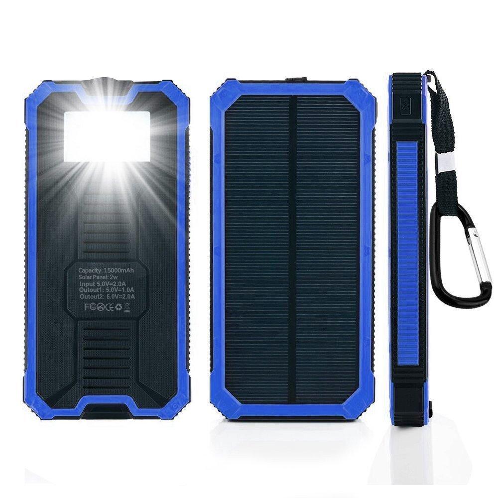 Solar Chargers 12000mAh, KDY Portable Solar Power Bank Waterproof USB Solar Battery Charger 2 USB Ports for iPhone, iPad, Samsung Galaxy, Android