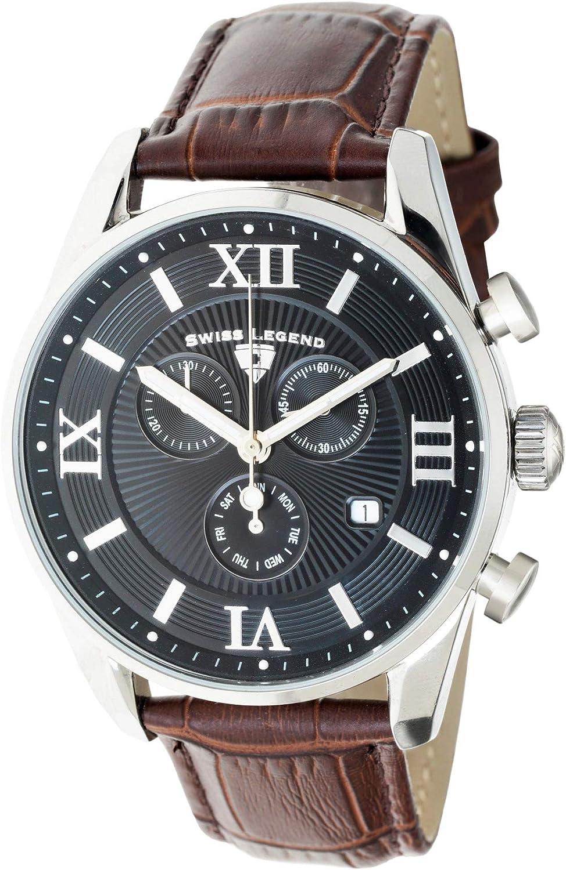 Swiss Legend Belleza 22011-01-BRN - Reloj analógico de Cuarzo Suizo para Hombre, Esfera Negra y Caja de Acero Inoxidable Plateada con Correa de Piel marrón
