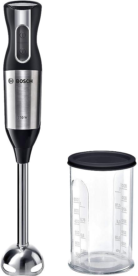 Bosch MSM6S10B Ergomixx Style - Batidora de mano, 750 W, 12 velocidades y función Turbo, cúpula QuattroBlade antisalpicaduras con cuatro cuchillas, ...
