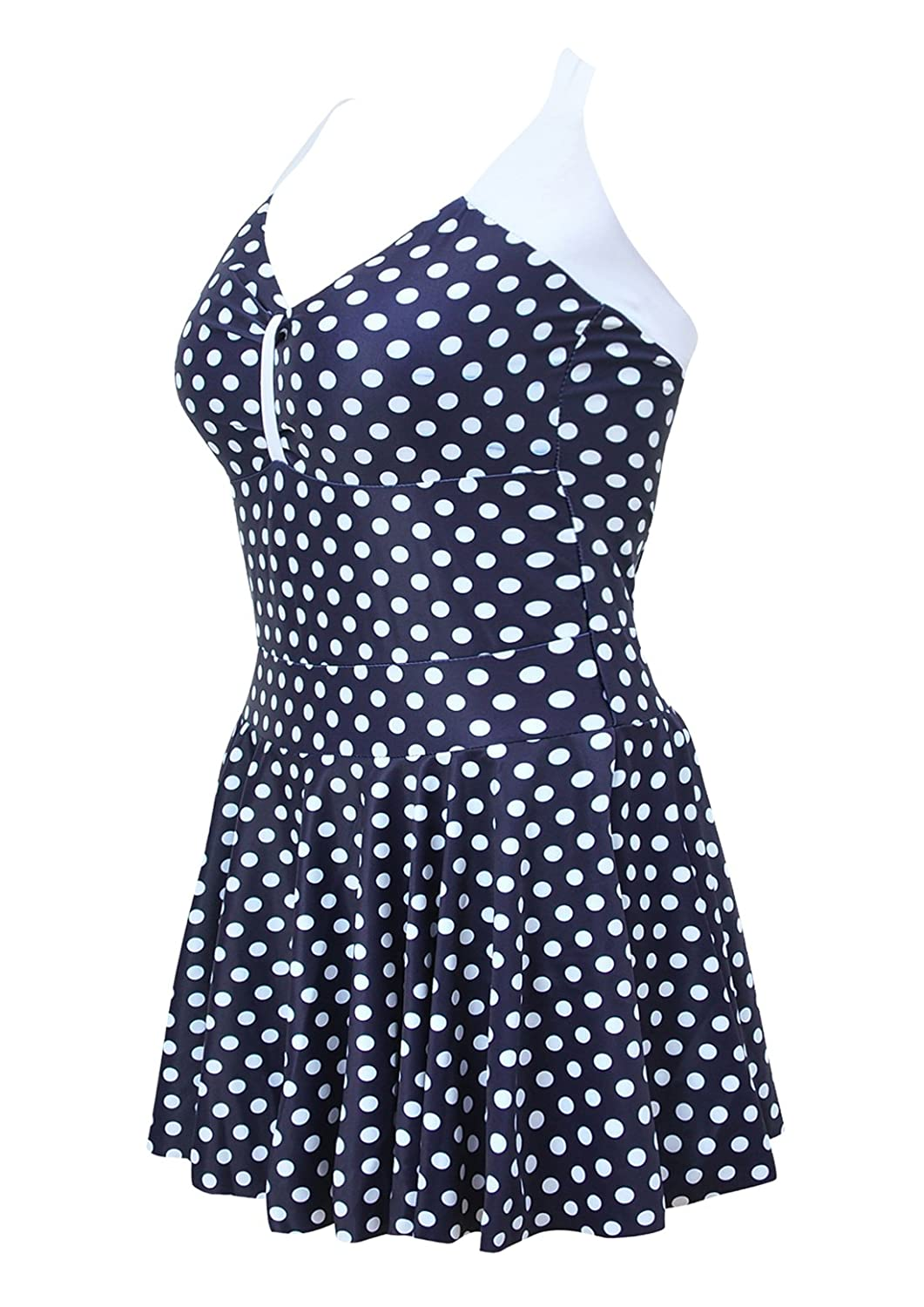 AMAGGIGO Women's Polka Dot One Piece Swimsuit Tummy Control Swimwear Swimdress with Skirt(FBA)