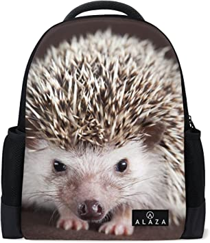Animal Cute Hedgehog Daypack Backpack School College Travel Hiking Fashion Laptop Backpack for Women Men Teen Casual Schoolbags Canvas