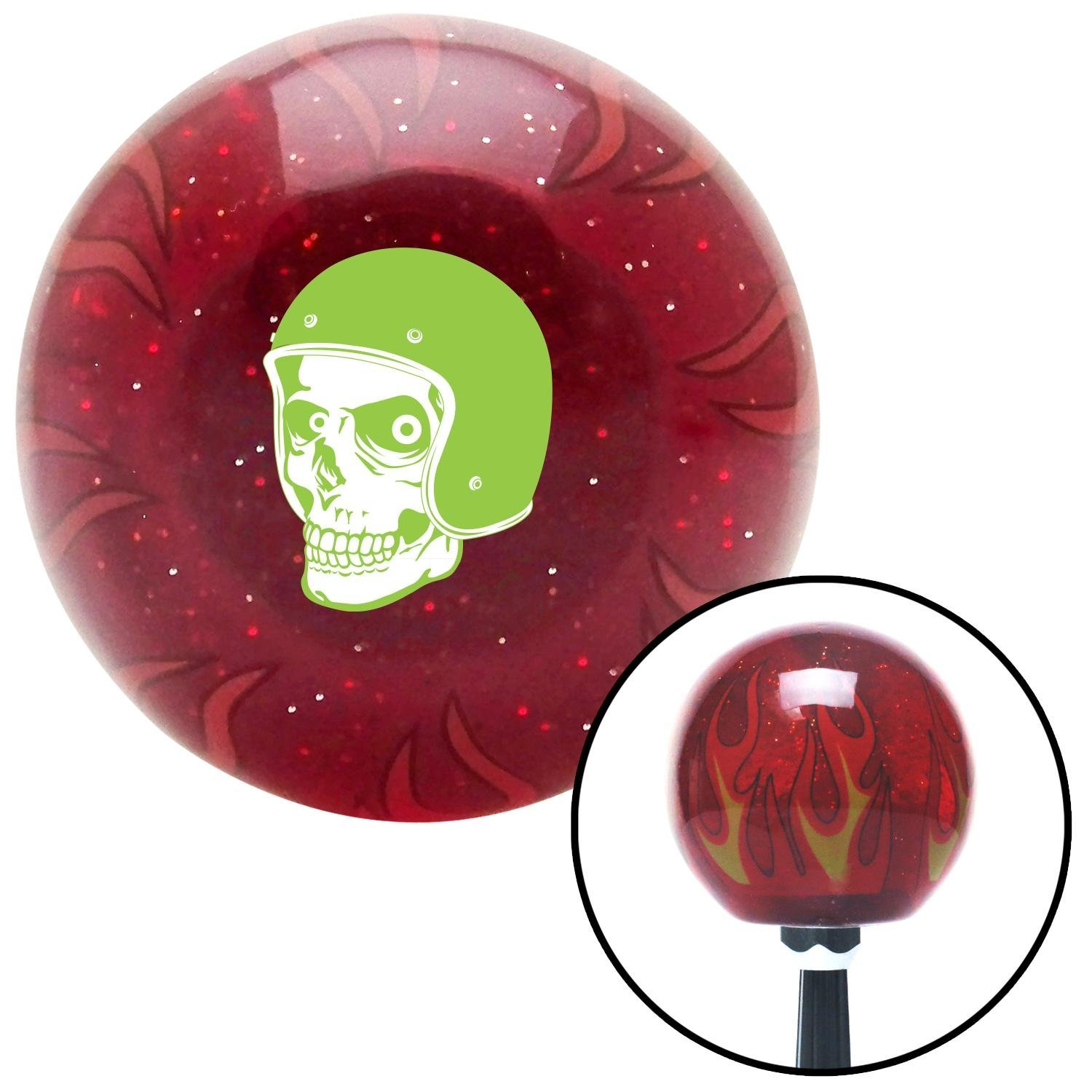 American Shifter 242498 Red Flame Metal Flake Shift Knob with M16 x 1.5 Insert Green Hellraiser Skull