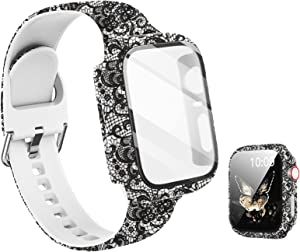 Compatible with Apple Watch Band 38mm with Screen Protector Case, Women Girl Pattern Printed Glass Screen Protector and Replacement Silicon Wristband Strap for iwatch Series 3 2 1 Accessories