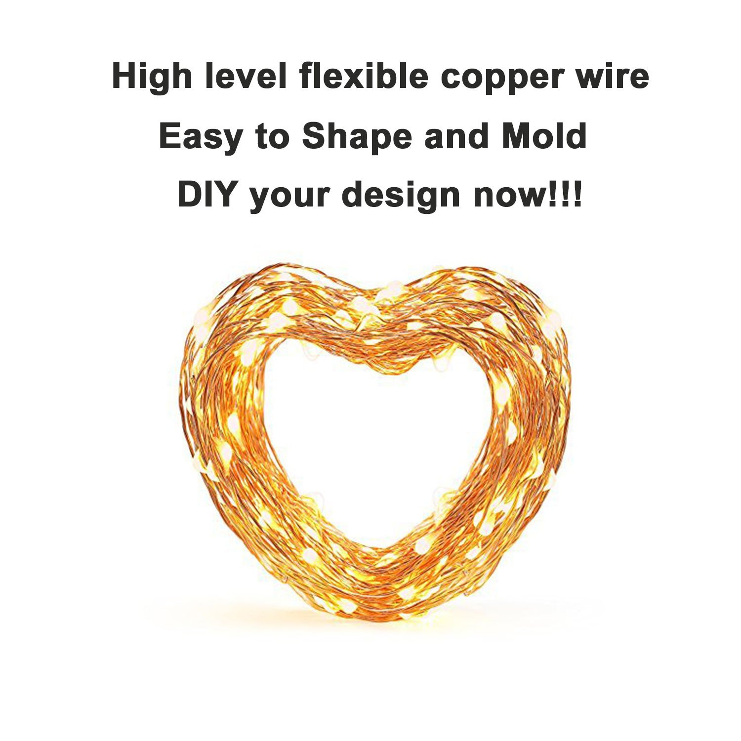 JMEXSUSS 8 Modes Timer Remote Control 200 LED 65.6ft Battery Operated Waterproof Dimmable Fairy String Copper Wire Lights for Christmas, Bedroom, Patio, Wedding, Party, Warm White(200LED+3AA Battery) by JMEXSUSS (Image #4)